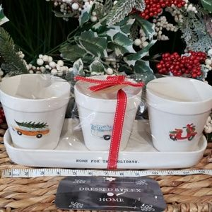 NWT RAE DUNN HOME FOR THE HOLIDAYS POTS & TRAY